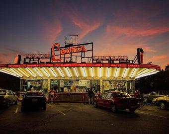 Leon's Frozen Custard Neon Sign Art | Neon Ice Cream Sign | Milwaukee Art | Retro Kitchen Decor | Sunset Fine Art Print | Kitchen Wall Art