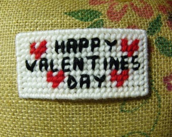Plastic Canvas Happy Valentine's Day Pin/Brooch   #1053