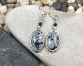 Black white and grey snowflake jasper gemstone silver hanging earrings