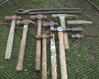 Large lot of 10 Blacksmith's hammers and one set of tongs from forge clearance, lot4