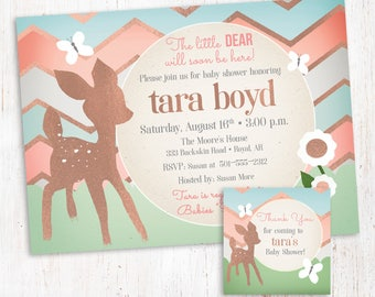 Baby Shower Invitation girl with matching tags- A Dear Deer