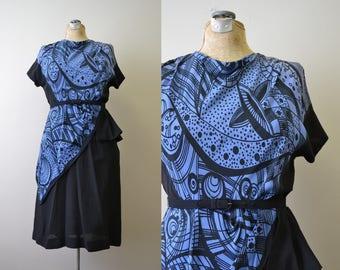 1940s Black and Blue Print Rayon Dress