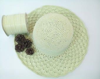 lovely crochet hat, summer hat, beach hat, broad-brimmed hat,  crochet hat pattern
