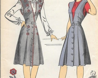Vintage 1940s DuBarry 5896 Front Button Wrap DRESS Jumper Sewing Pattern Size 18 Bust 36