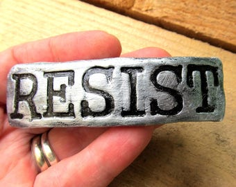 Barrette with the word Resist in Silver Color Resistance Action French Hair Clip Pony Tail Steampunk Clay Handstamped