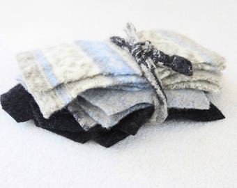 Felted Sweater Wool Scraps BLUE & TAUPE with GRAY Coordinating Wool Scrap Pack Destash Craft Supply WormeWoole