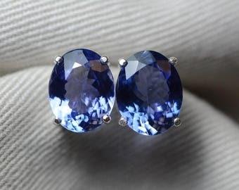 Tanzanite Earrings, 5.64 Carat Tanzanite Stud Earrings, Oval Cut, Sterling Silver, IGI Certified, Anniversary Birthday Christmas Present
