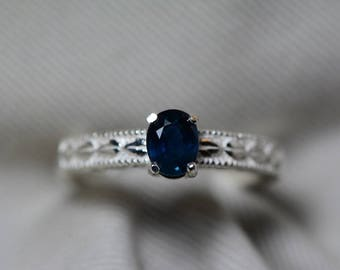 Sapphire Ring, Blue Sapphire Solitaire Ring 0.73 Carat Appraised at 600.00, September Birthstone, Natural Sapphire Jewelry, Oval Cut