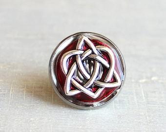 red celtic knot tie tac, mens jewelry, groomsmen gift, wedding jewelry, Irish wedding, anniversary gift, Scottish wedding