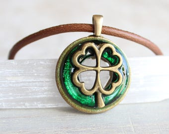 forest green four leaf clover necklace, mens jewelry, mens necklace, good luck charm, irish jewelry, unique gift, irish necklace, mens gift