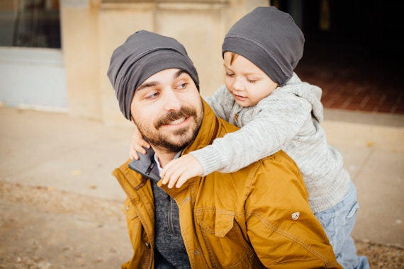 Hat - Matching Set - Father Son - Beanie Hat - Slouchy Unisex - Gray Organic Clothing - Eco Friendly