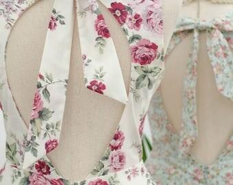 Alice cut off back dress white floral blue floral dress white party dress blue sundress white bridesmaid dress floral bridesmaid dresses