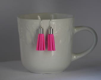 Neon Pink Hot Pink Faux Suede Tassel Earrings