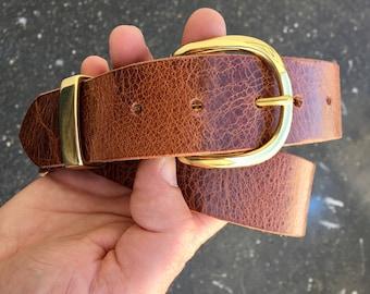 Handmade Leather Belt - Vintage Brown   - mens leather belt - brass belt buckle - brown belt - mens brown belt - made in usa leather belt