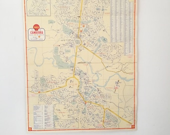 Vintage 1950s Canberra Map | Vintage Australia Map | Gift for him | Wall Art | Wall Decor | Industrial Decor | Rare Vintage Map