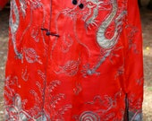 Reserved Listing....1900's Chinese Silver Embroidered Red Silk Robe Coat