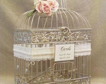 Champagne Bird Cage-Wedding card holder