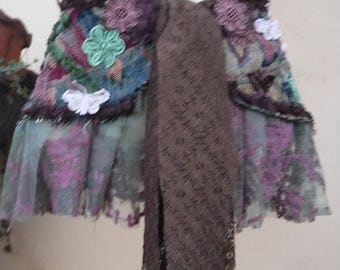 """20%OFF funky brocade & lace wrap belt/skirt..32"""" across plus long lace ties.FREE Shipping"""