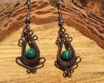 Boho Copper Wire Wrap with Malachite Beads Earrings  Surgical Steel Hooks