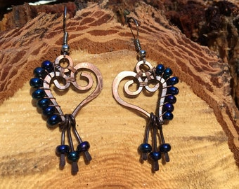Heart Copper Wire Wrap  & Blue Glass Beads Earrings  surgical Steel hooks