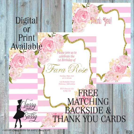 Pink Birthday Party Inviation, Elegant Birthday Party, Pink Glitter Party Invitation, DIY Print Party Inviation, first Birthday invite 026