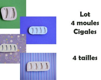 Lot 4 moules en silicone Cigales 4 tailles pour décoration loisirs créatifs