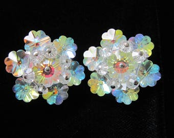 Crystal Clear  Rivoli Earrings Clip Aurora Borealis Vintage Dancing w/ Color 1950 Era EXCELLENT CLEAN CONDITION.