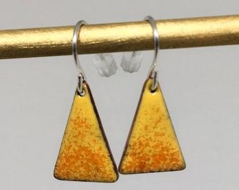 Yellow orange triangle enamel earrings hand made simple colorful earrings