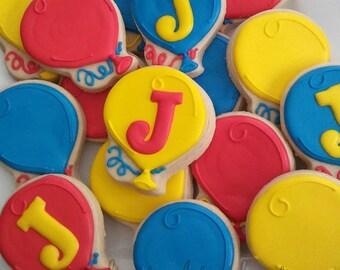 Birthday cookies - Balloon cookies - birthday party cookies - birthday cookie favors - 1 dozen balloon party cookies