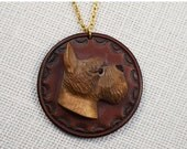 30% OFF SALE Schnauzer Dog 3-Dimensional 3D Medallion Stamped Leather and Carved Wood Pendant Necklace