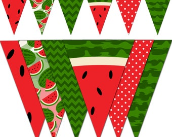Watermelon Banner, Watermelon Printable Banner, Summer Party Pennant Banner, Birthday, Photography - Instant Download - DP494