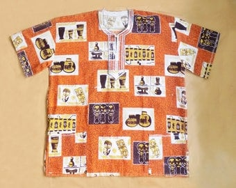 1970s Tiki African Dashiki / Drum Circle / Stage / Summer Shirt / XL / Orange and Brown / African motifs