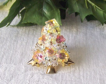 Vintage Christmas Tree Brooch Designer Costume Jewelry Scarf Pin Holiday Jewelry 1990s