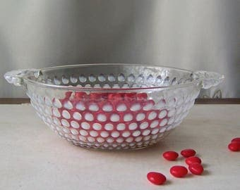 Vintage Hobnail Candy Dish Milk Glass Opalescent Glass Hobnail Bowl With Handles Vintage 1940s