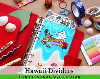 Personal Size Cute Kawaii Hawaii DIY Dividers 5 Top Tabs for Filofax Organizer Planner Printable PDF Instant Download