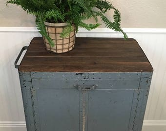 Vintage Industrial Rolling Cabinet Bar - Mid Century Industrial Locking Bar Cart - Upcycled Industrial Cabinet