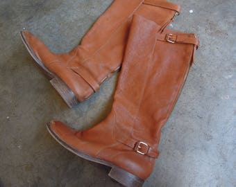 Vtg Leather Pebbled Butternut Cognac Zip Up Buckle Tall Knee Boots J.Crew Womens Size 8/8.5 M