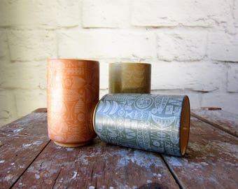 Modern Atomic Tiki Tumbler Mid Century Modern Vase Ceramic Vessle