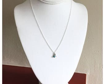 NEW! Turquoise Stone and Crystal Dainty Necklace 18inch silver chain handmade