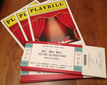 20 PLAYBILL Table cards 5 x 7 + 200 matching ticket place cards ESPECIALLY for Kim & Tom BALANCE