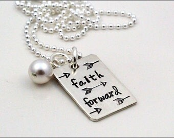 Custom Sterling Silver Inspiration Necklace | Faith Forward, Arrow Necklace, Silver Stamped Necklace, Inspiration Necklace