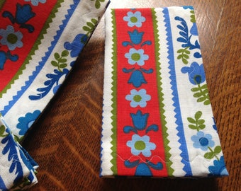 Handmade Cloth Napkins, Set of Six, Red White Blue GreenNapkins, Dinner Napkins