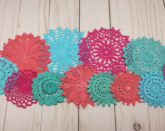12 Colorful Doilies, Small Hand Dyed Vintage Doilies, Pink, Coral, Teal, Turquoise Doilies, Crochet Mandalas
