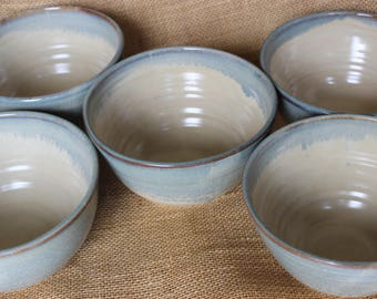 Set of 5 wheel thrown stoneware pottery soup bowls, ready to ship