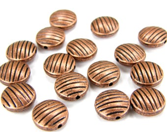 16 Copper Zebra Stripe Coin Beads, 10mm Antique Round Copper Beads, Metal Beads, Spacer Beads (16) Copper B0019