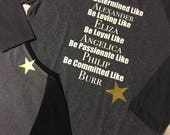 Women's graphic tee with heat vinyl transfer Playbill attributes