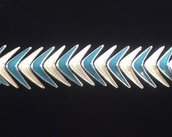 Geometric Turquoise and White Enameled Bracelet