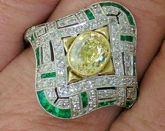Fancy YELLOW Diamond Ring~CUSHION Fancy Yellow in Art Deco Style Mount, GIA cert