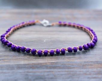 purple ankle bracelet, boho anklet beaded, foot bracelet beaded, beach jewelry, delicate anklet, hippie anklet purple, hippie ankle bracelet