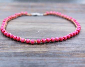 pink beaded ankle bracelet, boho anklet, foot jewelry, summer jewelry, braclet for ankle, summer ankle bracelet, beach jewelry